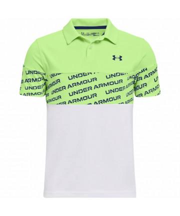 UA dětské polo, bílá/zelená
